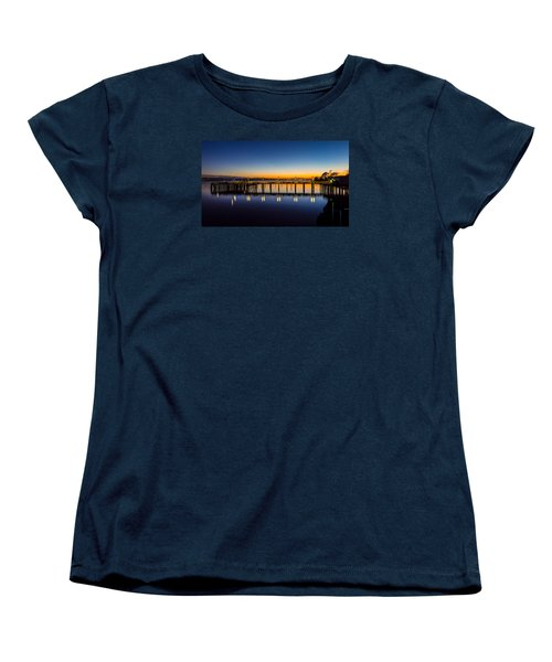 Old Town Pier Blue Hour Sunrise Women's T-Shirt (Standard Cut) by Rob Green
