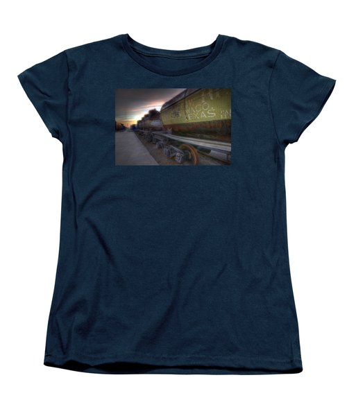 Women's T-Shirt (Standard Cut) featuring the tapestry - textile Old Train - Galveston, Tx 2 by Kathy Adams Clark