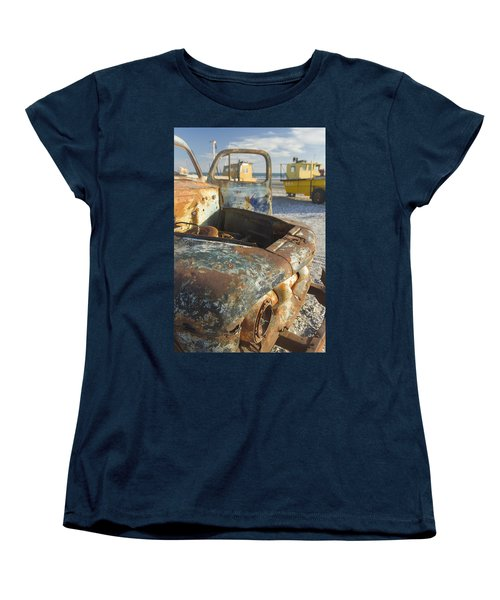 Old Truck In The Beach Women's T-Shirt (Standard Cut) by Silvia Bruno