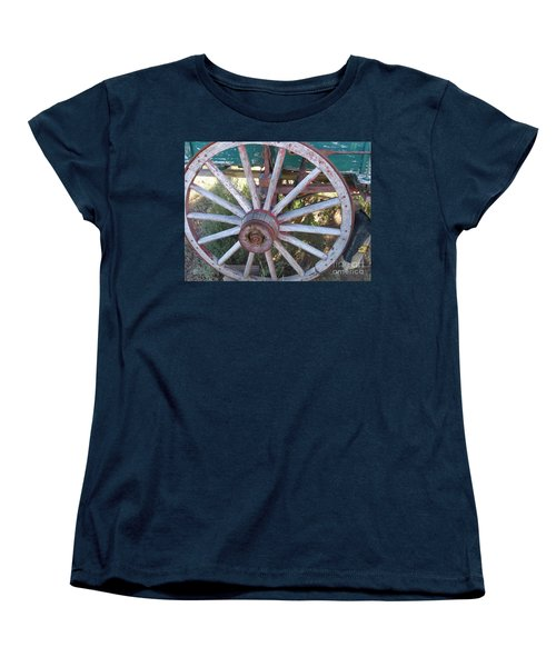 Women's T-Shirt (Standard Cut) featuring the photograph Old Wagon Wheel by Dora Sofia Caputo Photographic Art and Design