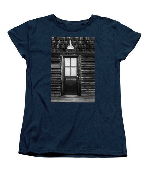 Old Wood Door And Light Black And White Women's T-Shirt (Standard Cut) by Terry DeLuco
