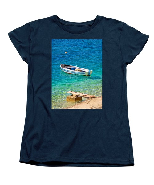 Old Wooden Fishermen Boat On Turquoise Beach Women's T-Shirt (Standard Cut) by Brch Photography
