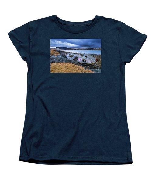Old Wooden Ship On Beach Women's T-Shirt (Standard Cut) by Joe Belanger