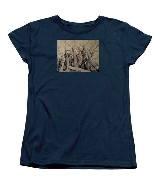 Women's T-Shirt (Standard Cut) featuring the painting Old Woods by Maja Sokolowska