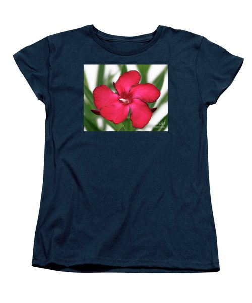 Women's T-Shirt (Standard Cut) featuring the photograph Oleander Blood-red Velvet 1 by Wilhelm Hufnagl
