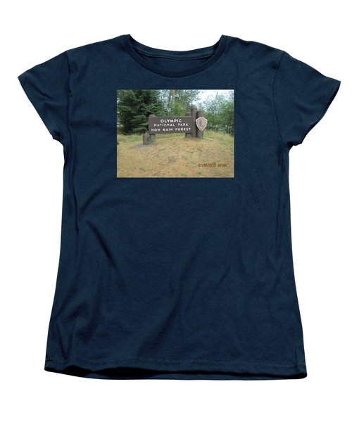 Women's T-Shirt (Standard Cut) featuring the photograph Olympic Park Sign by Tony Mathews