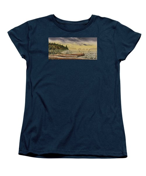 Women's T-Shirt (Standard Cut) featuring the painting Olympic Seashore Sunset by James Williamson