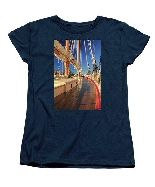 Women's T-Shirt (Standard Cut) featuring the photograph On Deck Of The Schooner Eastwind by Roupen  Baker