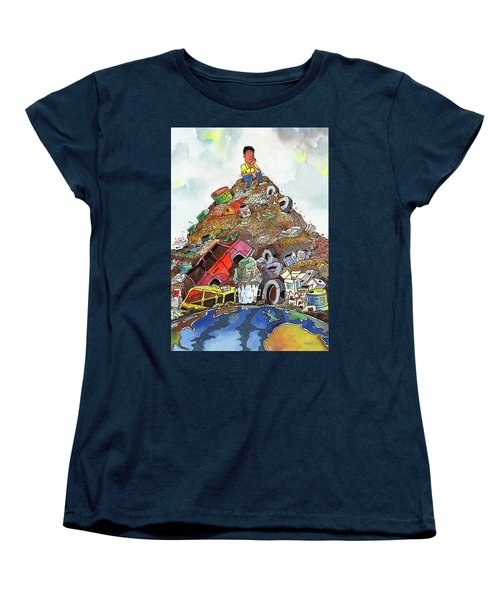 Women's T-Shirt (Standard Cut) featuring the painting On Top Of Things by Anthony Mwangi