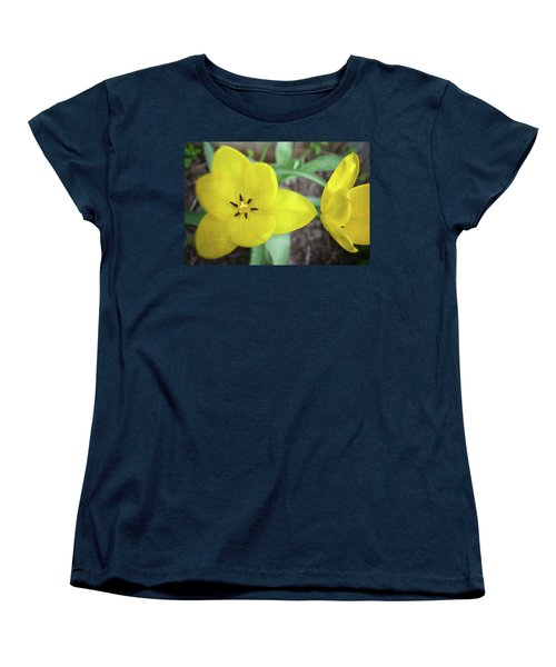 One And A Half Yellow Tulips Women's T-Shirt (Standard Cut) by Michelle Calkins