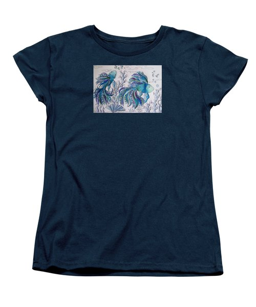 One Fish, Two Fish, Lilac Green And Blue Fish Women's T-Shirt (Standard Cut) by Megan Walsh