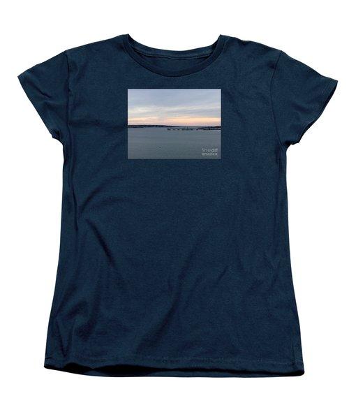 Opalescent January Sunrise On Casco Bay Women's T-Shirt (Standard Cut) by Patricia E Sundik