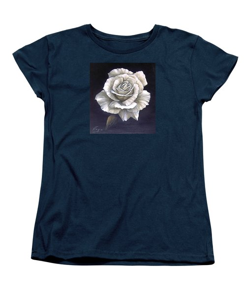 Women's T-Shirt (Standard Cut) featuring the painting Opened Rose by Natalia Tejera