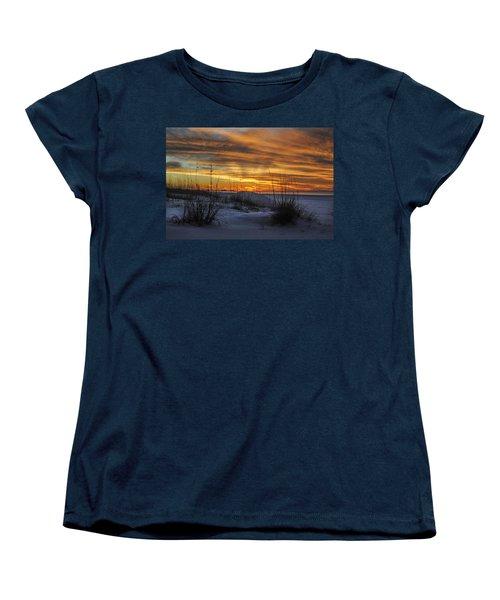 Orange Clouded Sunrise Over The Pier Women's T-Shirt (Standard Cut) by Michael Thomas