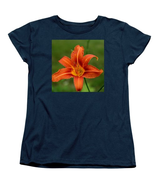 Orange Day Lily No.2 Women's T-Shirt (Standard Cut) by Neal Eslinger