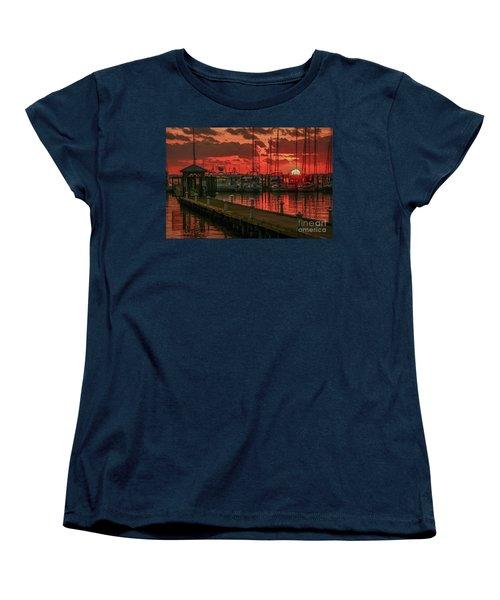 Orange Marina Sunrise Women's T-Shirt (Standard Cut) by Tom Claud