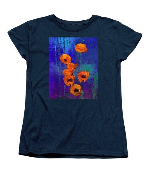 Orange Poppies Women's T-Shirt (Standard Cut) by I'ina Van Lawick