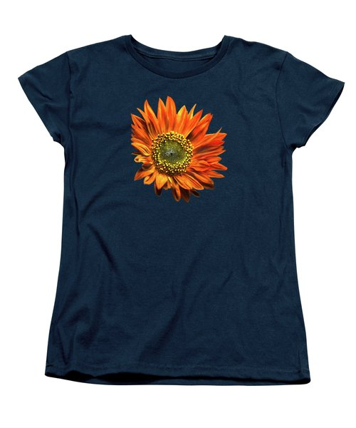 Orange Sunflower Women's T-Shirt (Standard Cut) by Christina Rollo