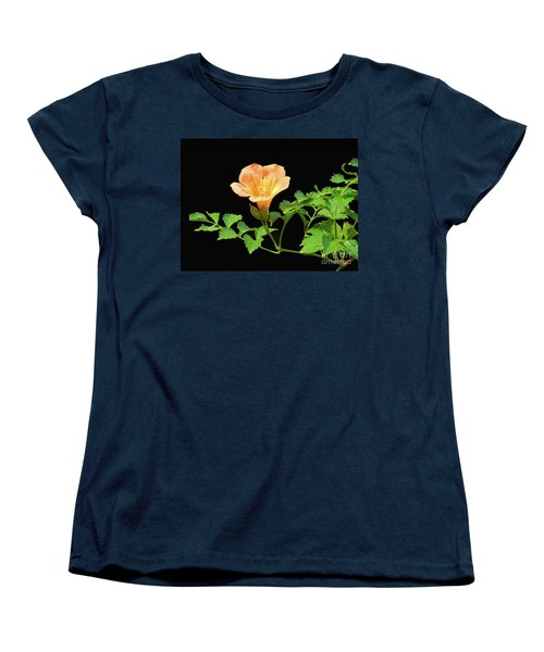 Orange Trumpet Flower Women's T-Shirt (Standard Cut) by Susan Lafleur