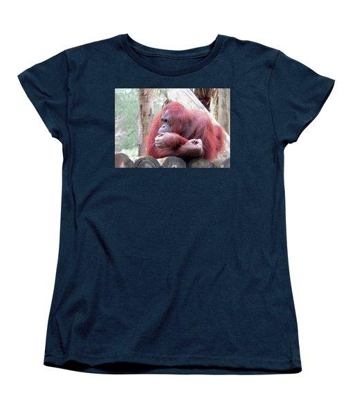Orangutang Contemplating Women's T-Shirt (Standard Cut) by Rosalie Scanlon