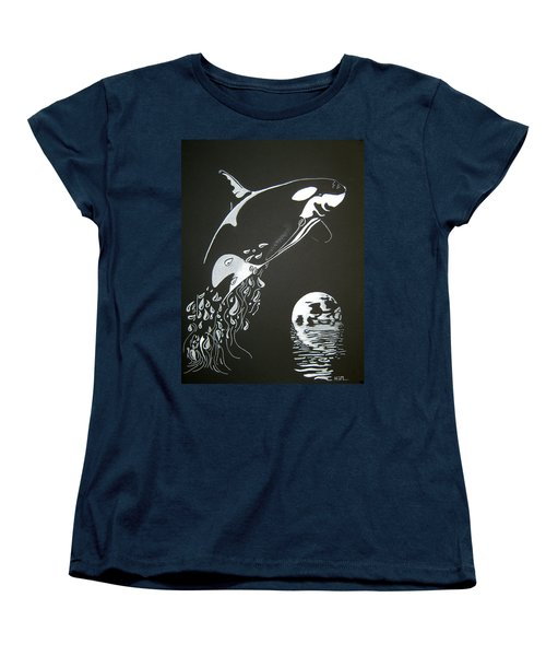 Orca Sillhouette Women's T-Shirt (Standard Cut) by Mayhem Mediums
