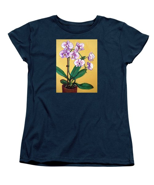 Women's T-Shirt (Standard Cut) featuring the painting Orchids by Laura Aceto