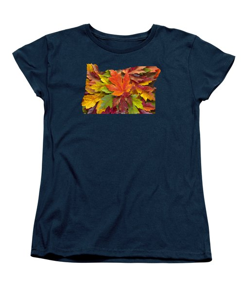Oregon Maple Leaves Mixed Fall Colors Background Women's T-Shirt (Standard Fit)