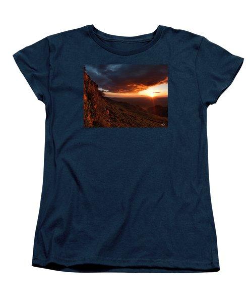Women's T-Shirt (Standard Cut) featuring the photograph Oregon Mountains Sunrise by Leland D Howard