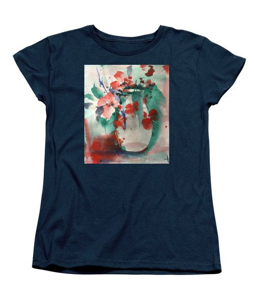 Oriental Brush Flowers And Vase Women's T-Shirt (Standard Cut) by Robin Miller-Bookhout