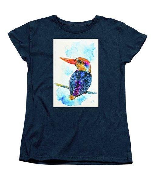 Women's T-Shirt (Standard Cut) featuring the painting Oriental Dwarf Kingfisher by Zaira Dzhaubaeva