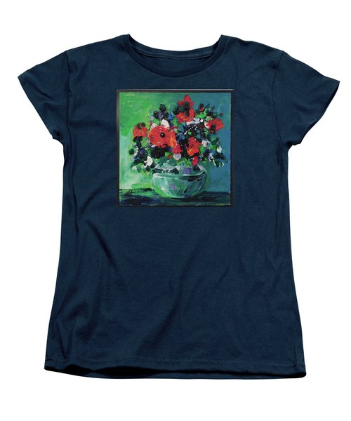 Original Bouquetaday Floral Painting By Elaine Elliott, Blues And Greens, 12x12, 59.00 Incl. Shippin Women's T-Shirt (Standard Cut) by Elaine Elliott