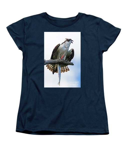 Women's T-Shirt (Standard Cut) featuring the photograph Osprey With Needlefish by Larry Nieland