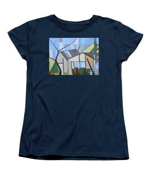 Out Back Down Oakwood Women's T-Shirt (Standard Cut) by Ron Erickson