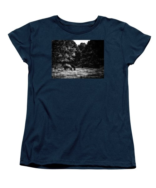 Women's T-Shirt (Standard Cut) featuring the photograph Out To Pasture Bw by Mark Fuller