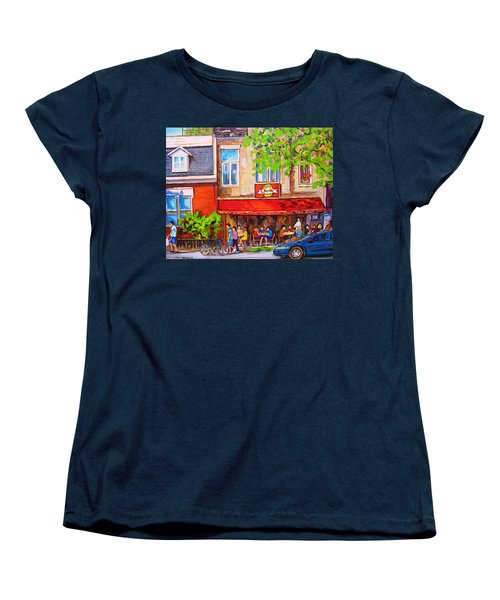 Outdoor Cafe Women's T-Shirt (Standard Cut) by Carole Spandau