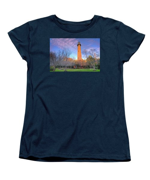 Women's T-Shirt (Standard Cut) featuring the painting Outer Banks Winter At The Currituck Lighthouse Ap by Dan Carmichael