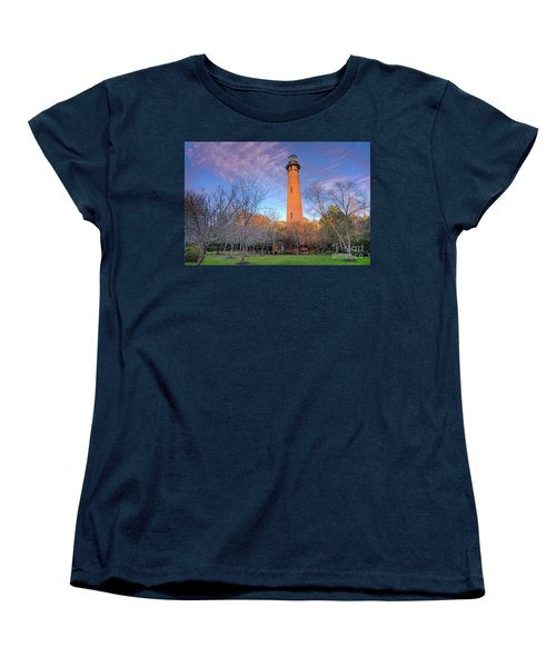 Women's T-Shirt (Standard Cut) featuring the photograph Outer Banks Winter At The Currituck Lighthouse by Dan Carmichael