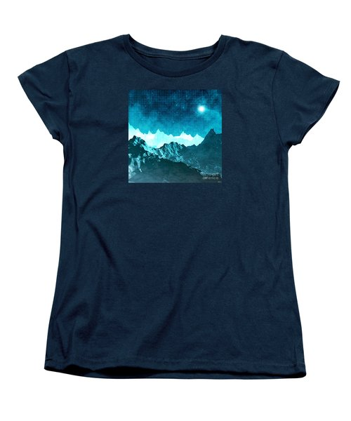 Women's T-Shirt (Standard Cut) featuring the digital art Outer Space Mountains by Phil Perkins