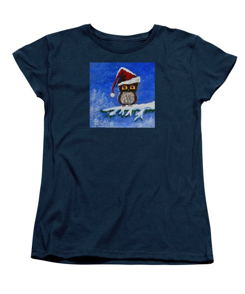 Owl Be Home For Christmas Women's T-Shirt (Standard Cut) by Agata Lindquist