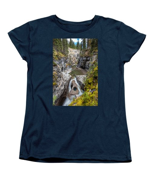 Women's T-Shirt (Standard Cut) featuring the photograph Owl Face Falls Of Maligne Canyon by Pierre Leclerc Photography