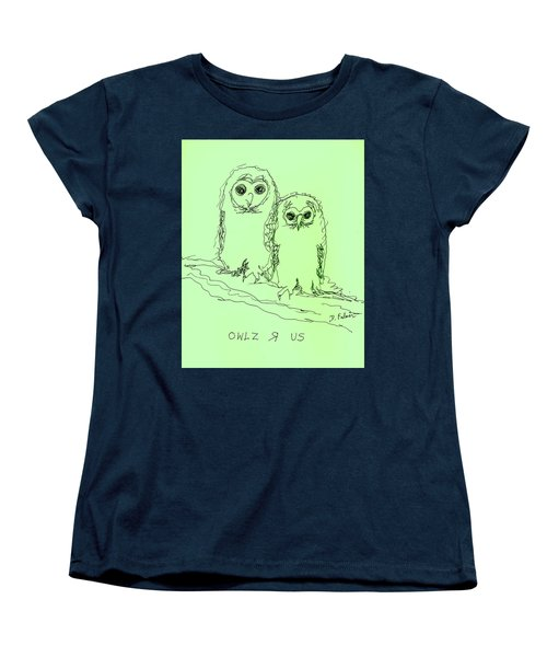 Women's T-Shirt (Standard Cut) featuring the drawing Owlz R Us by Denise Fulmer
