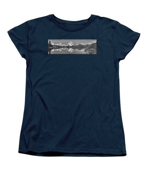 Oxbow Snake River Reflections Black And White Women's T-Shirt (Standard Cut) by Adam Jewell