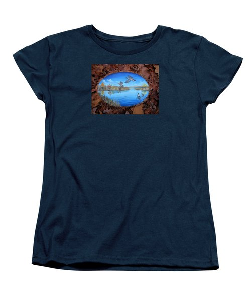 Women's T-Shirt (Standard Cut) featuring the painting Oyster Creek Flock by Kevin F Heuman