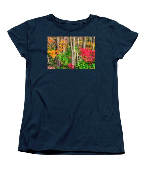 Pa Country Roads - Autumn Flourish - Harmony Hill Nature Area - Chester County Pa Women's T-Shirt (Standard Cut) by Michael Mazaika