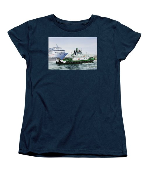 Women's T-Shirt (Standard Cut) featuring the painting Pacific Escort Cruise Ship Assist by James Williamson