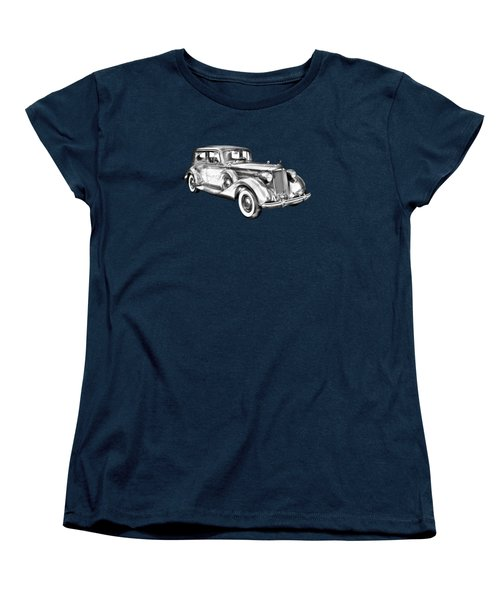 Packard Luxury Antique Car Illustration Women's T-Shirt (Standard Cut) by Keith Webber Jr