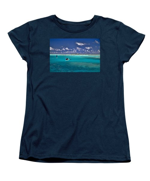 Paddling In Moorea Women's T-Shirt (Standard Cut) by David Smith