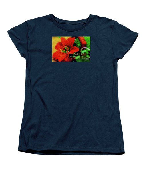 Women's T-Shirt (Standard Cut) featuring the photograph Painted Poinsettia Merry Christmas by Sandy Moulder