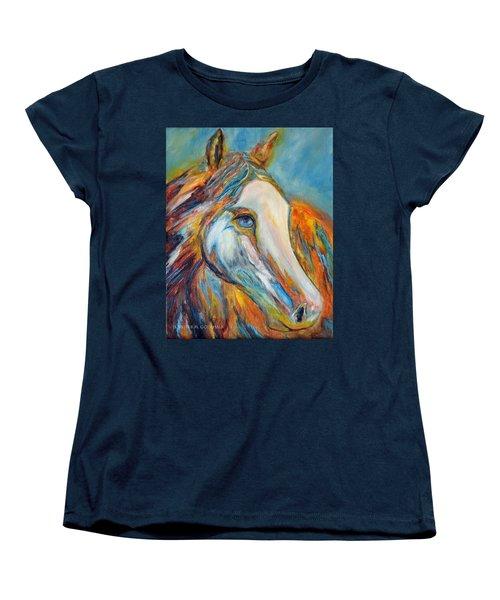 Women's T-Shirt (Standard Cut) featuring the painting Painted Horse Sensation by Jennifer Godshalk