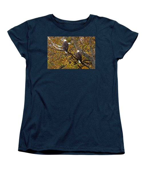 Pair Of Eagles In Autumn Women's T-Shirt (Standard Cut) by Larry Ricker
